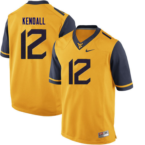 Men #12 Austin Kendall West Virginia Mountaineers College Football Jerseys Sale-Gold