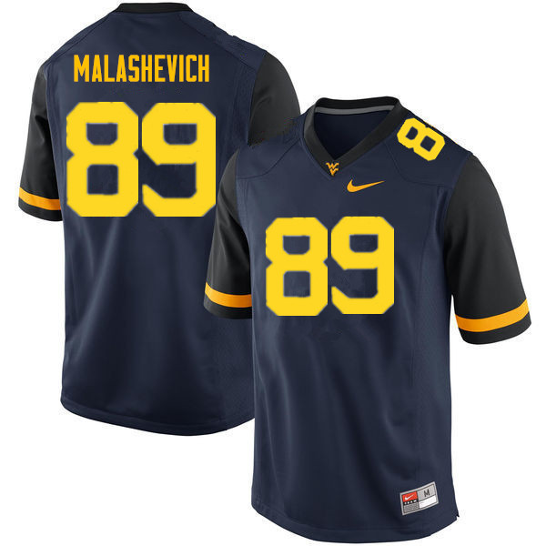 Men #89 Graeson Malashevich West Virginia Mountaineers College Football Jerseys Sale-Navy