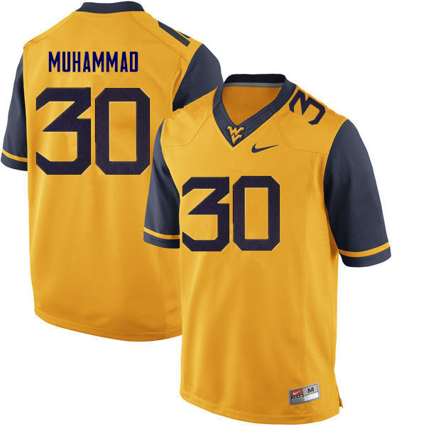 Men #30 Naim Muhammad West Virginia Mountaineers College Football Jerseys Sale-Gold
