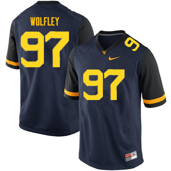 Men #97 Stone Wolfley West Virginia Mountaineers College Football Jerseys Sale-Navy