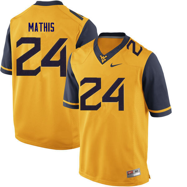 Men #24 Tony Mathis West Virginia Mountaineers College Football Jerseys Sale-Gold