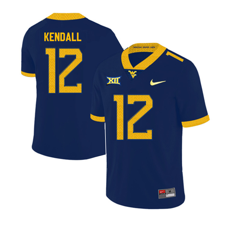 2019 Men #12 Austin Kendall West Virginia Mountaineers College Football Jerseys Sale-Navy