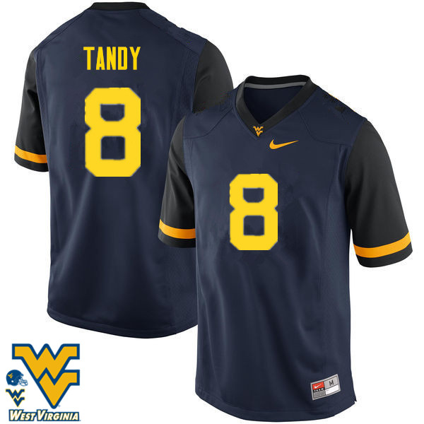Men #8 Keith Tandy West Virginia Mountaineers College Football Jerseys-Navy