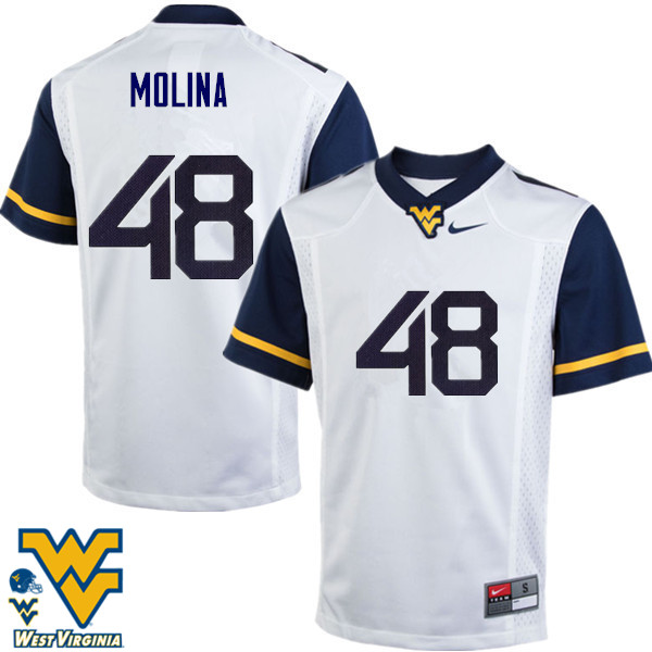Men #48 Mike Molina West Virginia Mountaineers College Football Jerseys-White