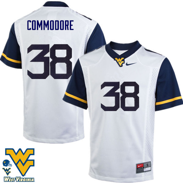 Men #38 Shane Commodore West Virginia Mountaineers College Football Jerseys-White