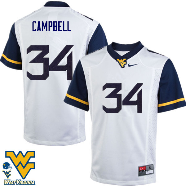 Men #34 Shea Campbell West Virginia Mountaineers College Football Jerseys-White